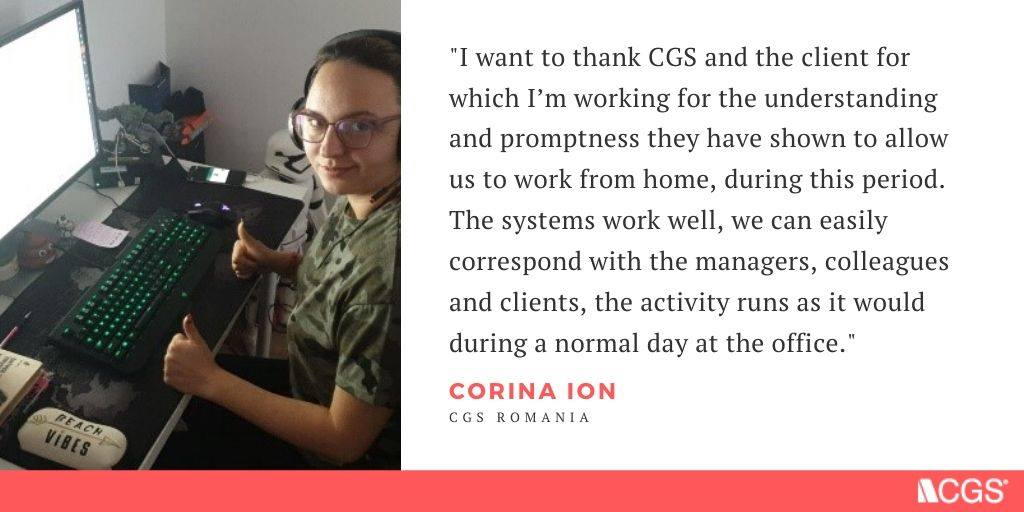 CGS call center staff working from home during COVID-19
