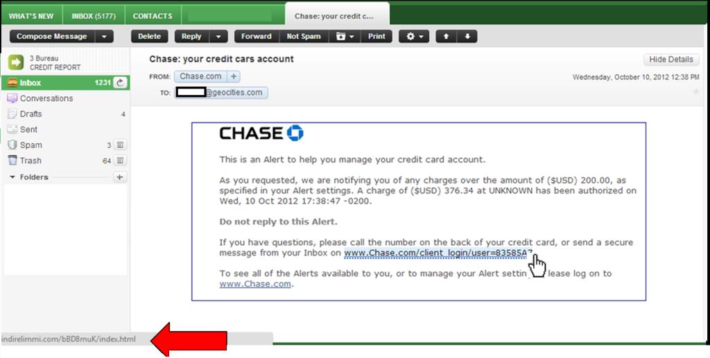 email, malicious, phishing, chase