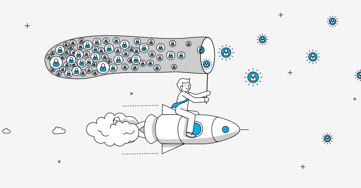 Businessperson on rocket collecting subscribers in a net illustration