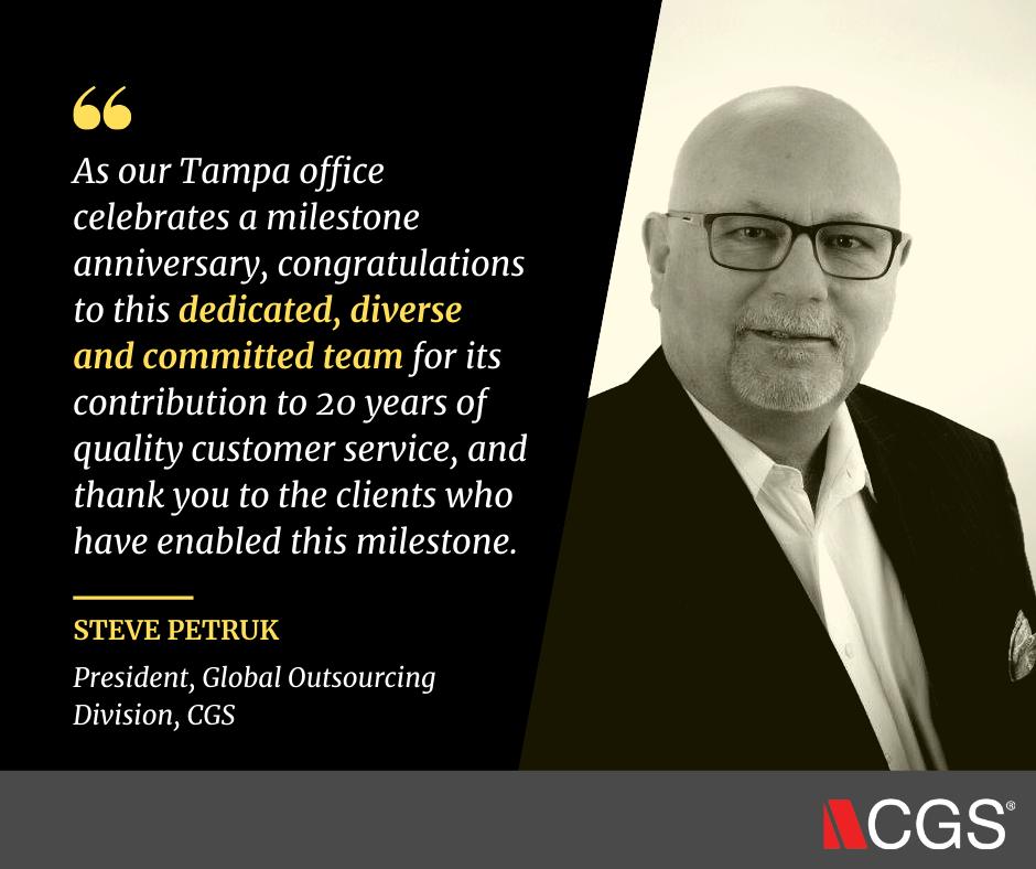 CGS Celebrates 20th Anniversary of BPO Service in Tampa