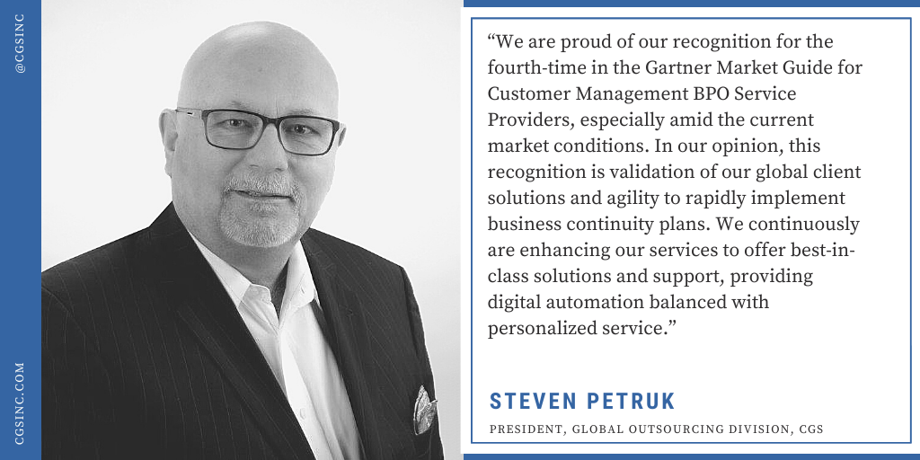 CGS Named in the 2020 Gartner Report: Market Guide for Customer Management BPO Service Providers