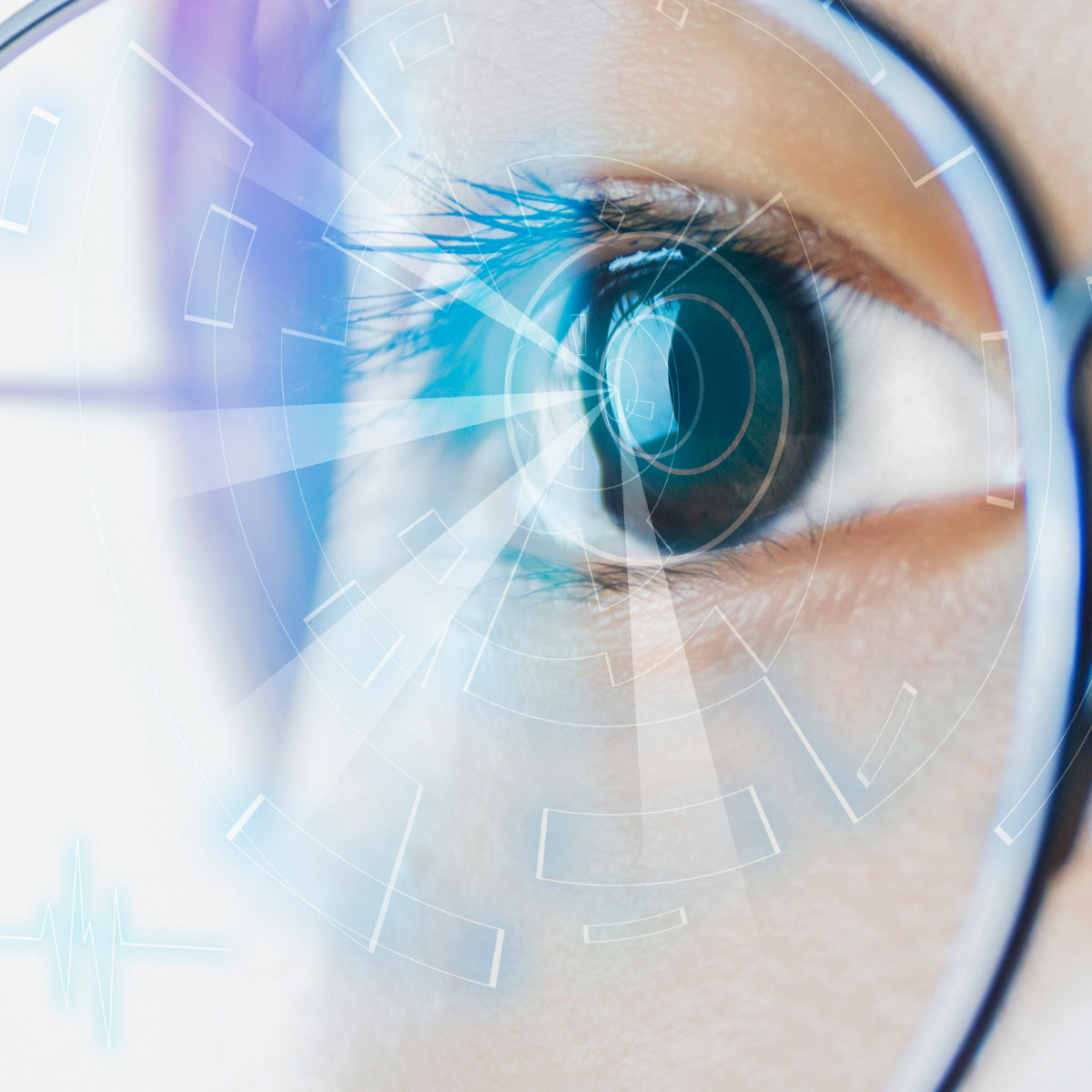 Augmented reality glasses eye close-up image