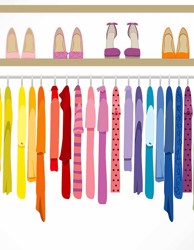 Colorful closet filled with clothes