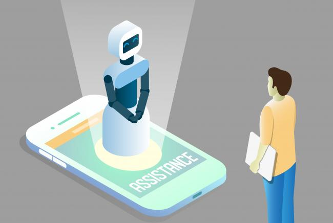 A virtual assistant helping someone with customer strategy from a mobile phone.