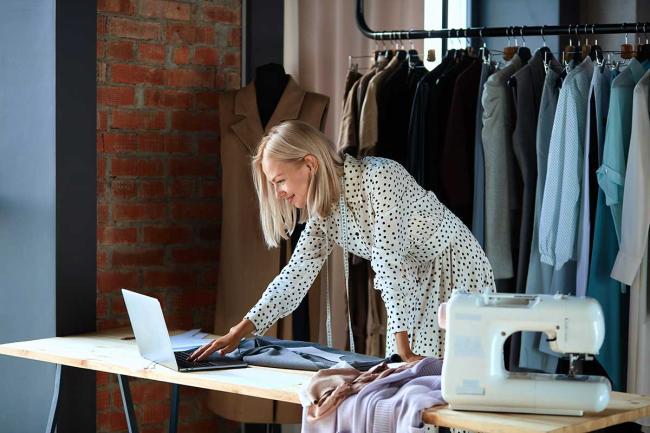 Fashion designer on laptop
