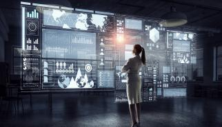 Woman looking virtual monitors showing customer data privacy implementation