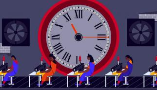 Apparel industry workers and timeclock