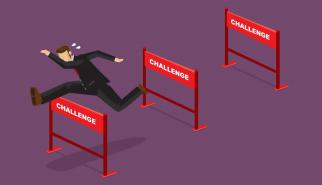 Corporate Worker Jumping Hurdles