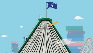 Two people climbing book mountain, learning together illustration