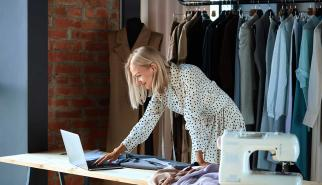 Fashion designer on laptop