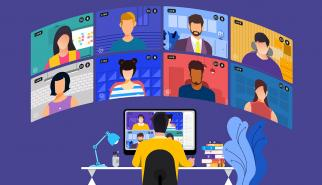 Employee doing e-learning with videochat screens illustration
