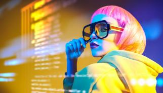 Fashionable futuristic woman with data information overlay