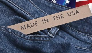 Denim jeans with made in the USA tag and flag