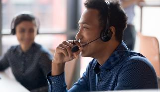 Call center employee experiencing an unusual call