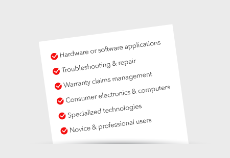 Tech support offerings check list
