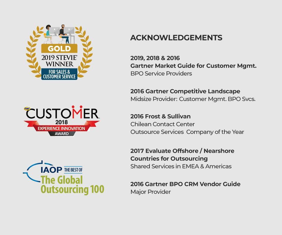 List of awards CGS has won for their BPO work including a Gold Stevie Award for outstanding customer service