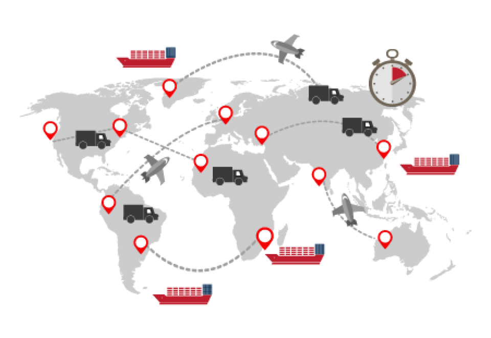 BlueCherry Manufacturing global logistics map